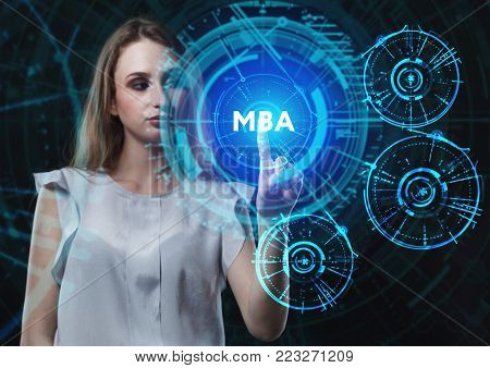 The concept of business, technology, the Internet and the network. A young entrepreneur working on a virtual screen of the future and sees the inscription: MBA poster
