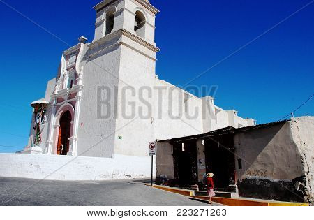 Sachaca, Peru, February 2007 View of the church in the main square of the little village near Arequipa.
