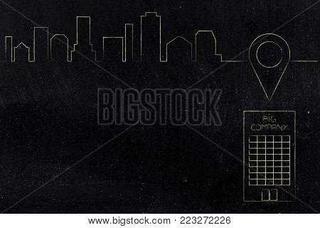 find the best location for your company offices conceptual illustration: building with geotag pin above it and city skyline in the background