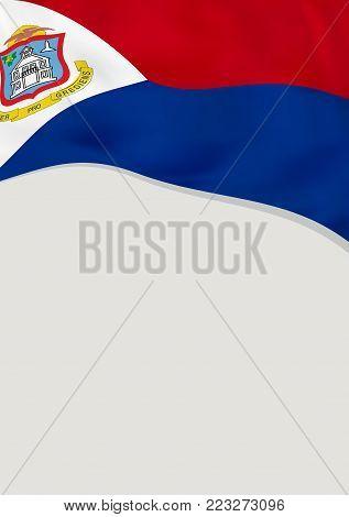 Leaflet design with flag of Sint Maarten. Vector template.