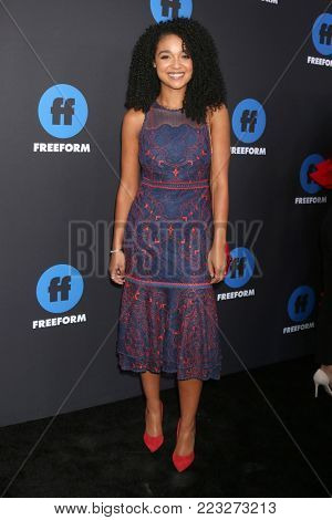 LOS ANGELES - JAN 18:  Aisha Dee at the Freeform Summit 2018 at NeueHouse on January 18, 2018 in Los Angeles, CA