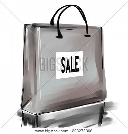 art digital acrylic and watercolor painted one monochrome grey shopping bag isolated on white background with label Sale; monochrome 3d graphic