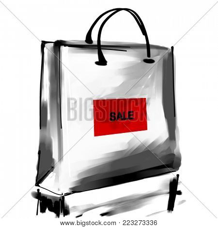 art digital acrylic and watercolor painted one monochrome white shopping bag isolated on white background with label Sale; monochrome 3d graphic