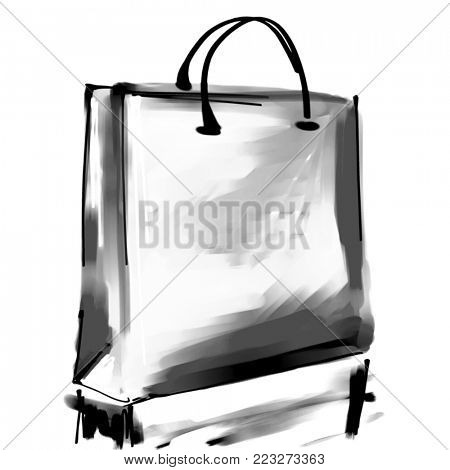art digital acrylic and watercolor painted one monochrome white shopping bag isolated on white background with space for text and label; monochrome 3d graphic