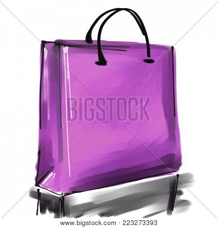art digital acrylic and watercolor painted one monochrome lilac and pink shopping bag isolated on white background with space for text and label; colorful 3d graphic7
