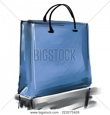 art digital acrylic and watercolor painted one monochrome blue shopping bag isolated on white background with space for text and label; colorful 3d graphic
