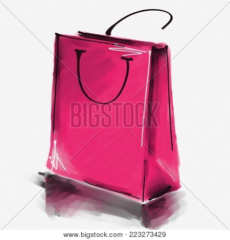 art digital acrylic and watercolor painted one monochrome pink rose shopping bag isolated on white background with space for text and label; colorful 3d graphic