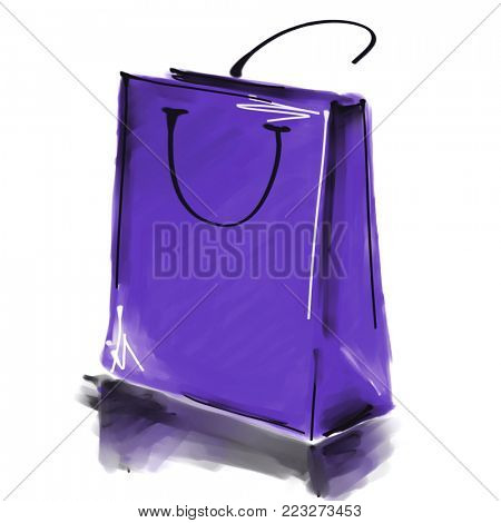 art digital acrylic and watercolor painted one monochrome lilac shopping bag isolated on white background with space for text and label; colorful 3d graphic