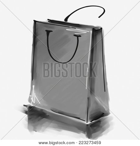 art digital acrylic and watercolor painted one monochrome grey shopping bag isolated on white background with space for text and label; monochrome 3d graphic