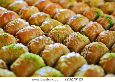 Turkish baklava at the turkish delight store in Kemer, Antalya, Turkey.