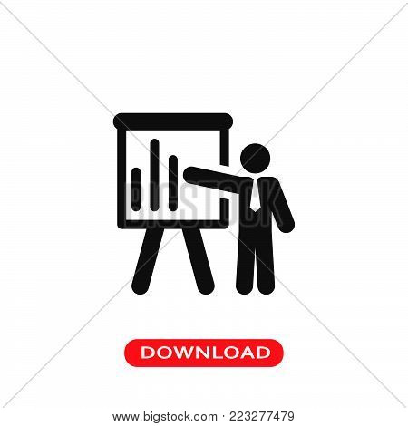 Business presentation icon vector in modern flat style for web, graphic and mobile design. Business presentation icon vector isolated on white background. Business presentation icon vector illustration, editable stroke and EPS10. Business presentation ico