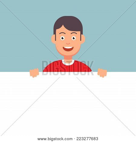 Man character holding empty blank signboard banner.Vector stock.