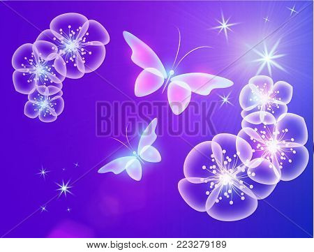 Glowing background with magic  butterflies and flowers.Transparent butterfly  and flowers.  Glowing image on purple background.