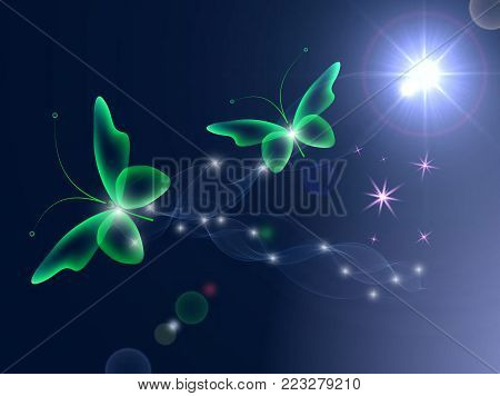 Glowing background with magic  green butterflies and sparkling stars.Transparent butterfly and glowing stars. Glowing image on dark background.