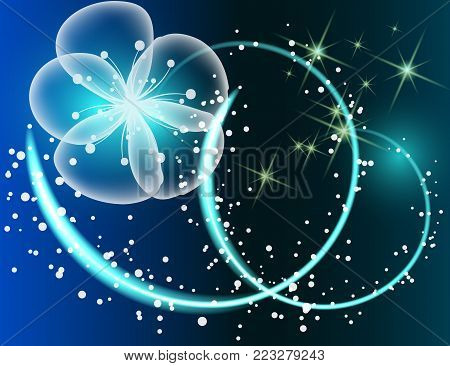Glowing background with magic  butterflies and sparkling stars.Transparent picture with glowing stars and blue flower.