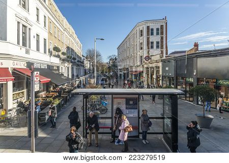 London, UK - Nov 22, 2017: Entrance to South Kensington tube station, South Kensington, London UK