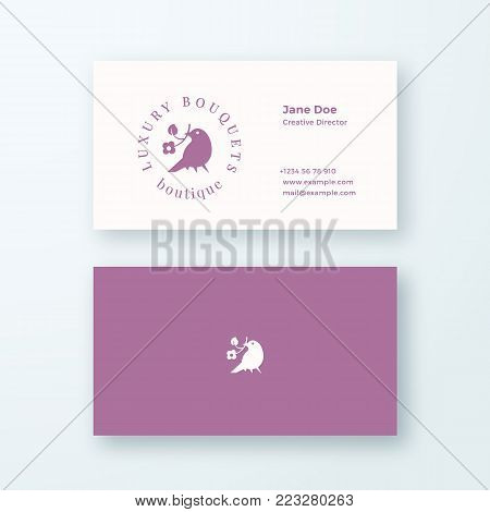 Abstract Feminine Vector Sign or Logo and Business Card Template. Premium Stationary Realistic Mock Up. Modern Typography and Soft Shadows. Good for Flower Boutique, Wedding Business. Isolated.