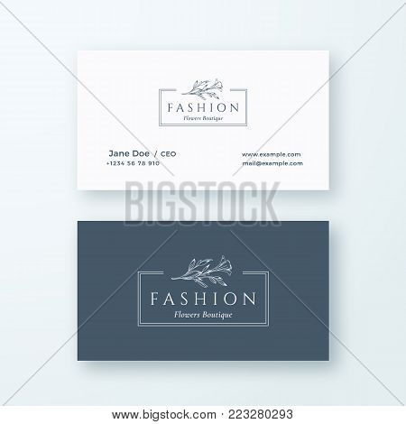 Abstract Fashion Vector Sign or Logo and Business Card Template. Premium Stationary Realistic Mock Up. Modern Typography and Soft Shadows. Good for Flower Boutique, Wedding Business. Isolated.