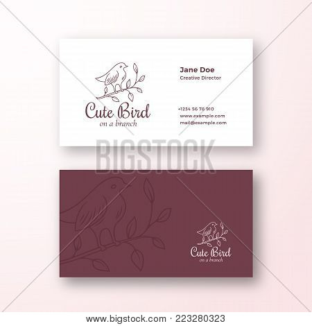 Cute Bird on a Branch. Abstract Fashion Vector Sign or Logo and Business Card Template. Premium Stationary Realistic Mock Up. Modern Typography and Soft Shadows. Isolated.