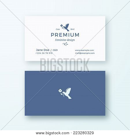 Bird with a Flower. Abstract Feminine Vector Sign or Logo and Business Card Template. Premium Stationary Realistic Mock Up. Modern Typography and Soft Shadows. Isolated.