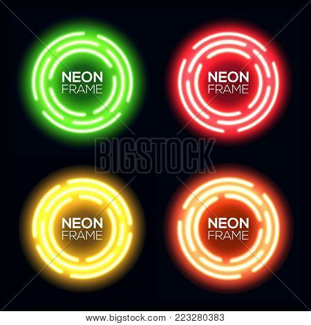 Neon light circles set. Shining round techno frame collection. Night club electric 3d banner on dark backdrop. Green red yellow orange neon abstract background with glow Technology vector illustration