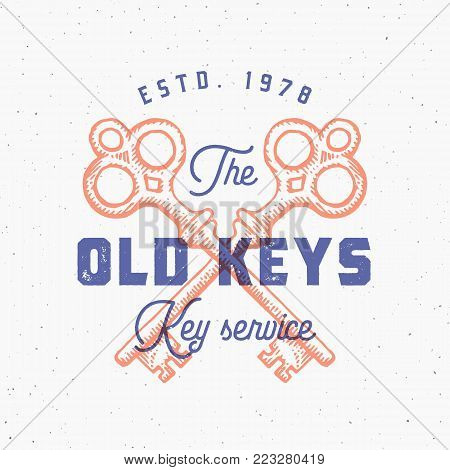 Retro Print Effect Old Keys Sign. Abstract Vector Sign, Symbol or Logo Template. Hand Drawn Crossed Keys Sillhouettes with Classy Retro Typography. Vintage Vector Emblem with Shabby Textures. Isolated