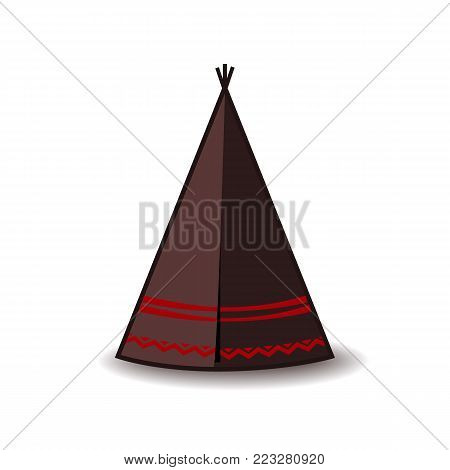 Wigwam icon. Indian teepee or tipi. Vector illustration. Colorful palette