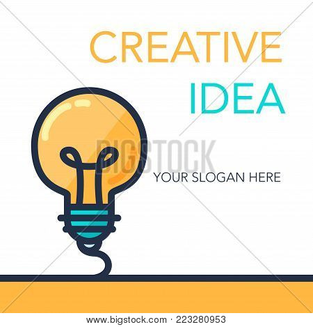 Simple Creative Success Idea Banner. Innovation symbol. Light bulb sign. Design element for business startup, technology, science. Concept of invention, study, imagination and creativity. Vector
