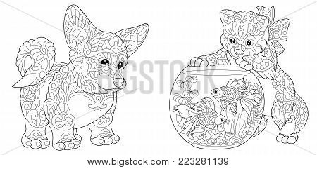 Coloring Page. Adult Coloring Book. Cardigan Welsh Corgi Dog. Cat playing with Goldfish in Aquarium fish bowl. Antistress freehand sketch collection with doodle and zentangle elements.