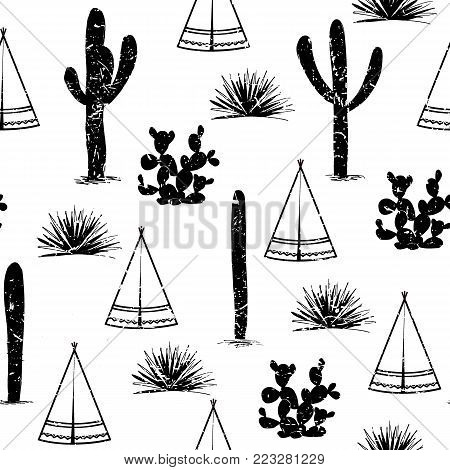 Indian tribal background. Simple flat wigwam, cactus, and grass. Seamless pattern landscape. Minimalist design. Cartoon illustration, vector, black and white