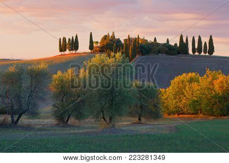 TUSCANY, ITALY - SEPTEMBER 26, 2017: September sunset in the vicinity of the city of San Quirico d'Orcia