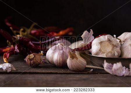 Garlic. Dried Violet garlic.Garlic background. garlic bulbs on white