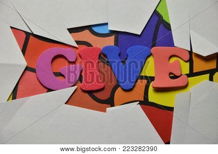 word give on an   abstract colred  background