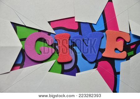 word give on an    abstract colored background