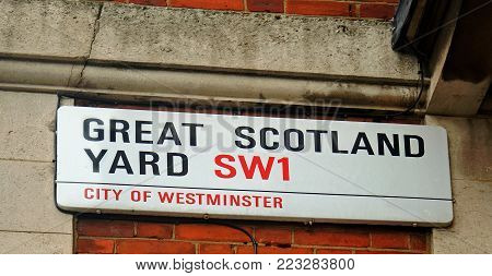 Great Scotland Yard, City of Westminster SW1 Road signage. This was the home of Scotland Yard, until it moved in 2016.  Great Scotland Yard is a short road spanning between Whitehall and Northumberland Avenue. London, England, 2018