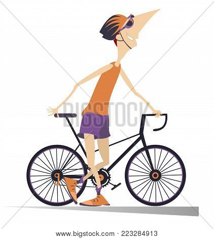 Smiling cyclist stays holding a bike isolated illustration. Cartoon smiling cyclist man in helmet stays holding a bike isolated on white illustration