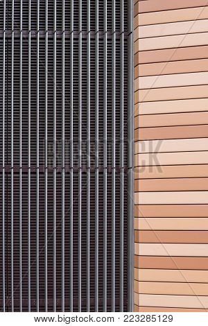 Symmetrical house facade auf of metal and plastic