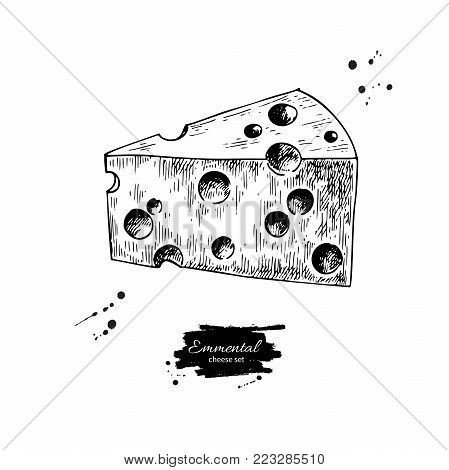 Emmental cheese  drawing. Vector hand drawn food sketch. Engraved triangle slice cut. Farm market product for label, poster, icon, packaging. Dairy vintage product