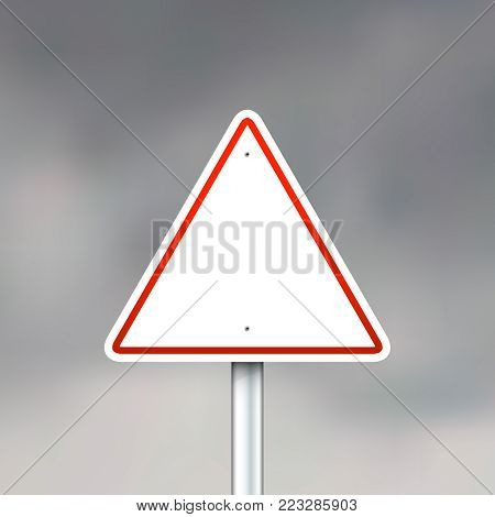 Triangle road sign on gray sky background. Vector illustration eps 10