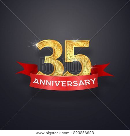 Thirty-five anniversary logo template. 35th years celebrating golden numbers with red ribbon vector design elements