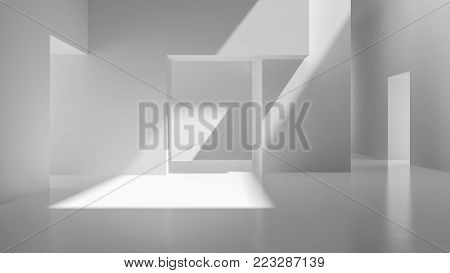 Interior white abstract empty room 3D rendering