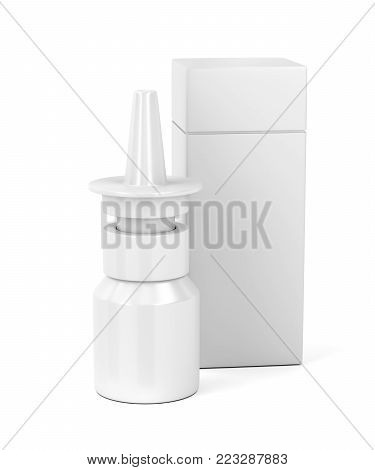Blank nasal spray bottle and plastic box on white background, 3D illustration