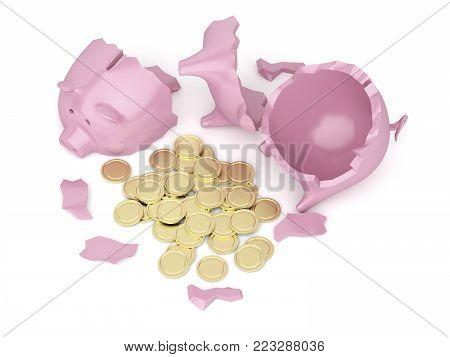 Broken piggy bank with many golden coins inside, 3D illustration