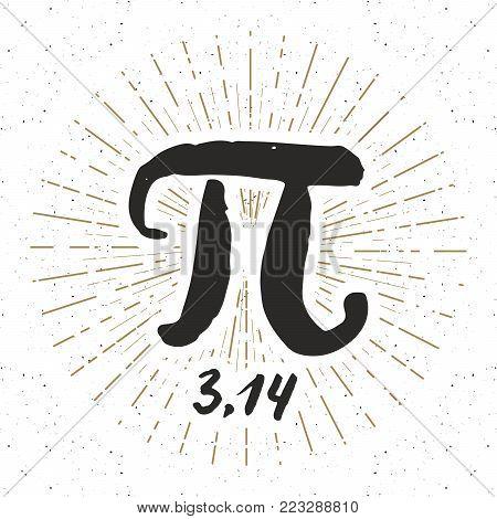 Pi symbol hand drawn icon, Grunge calligraphic mathematical sign, vector illustration.