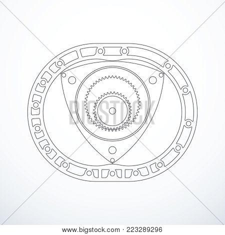 Rotary Wankel engine isolated. Vector illustration eps 10