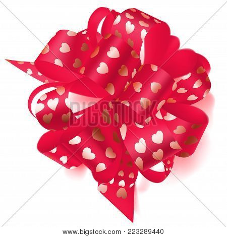 Big Bow Made Of Ribbon With Small Hearts