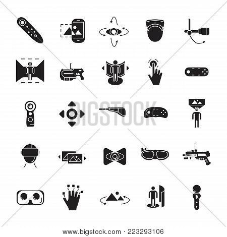 Virtual reality and accessories line icons set isolated on white background. Vector illustration with virtual reality, helmet, vr weapon, web icons in black simple silhouette style.