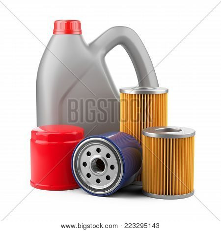 Plastic kanister with motor oil and filters. 3d llustration isolated on white background.