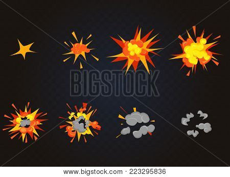 Top view of Vector Explosion effect, Bomb Boom. Cartoon explosion animation game frames