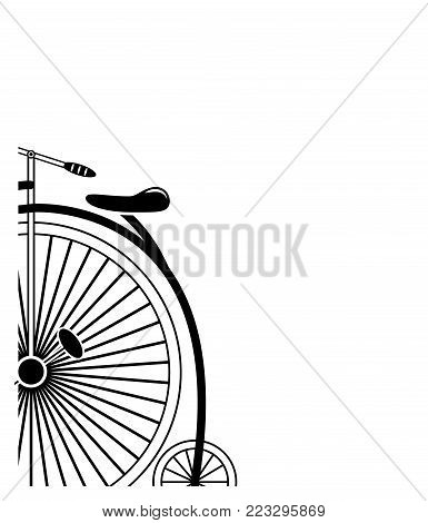 Partial corner style Minimal Vintage style penny farthing bicycle in partial form in black and white